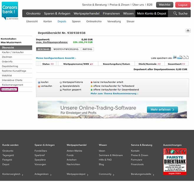 Depot ActiveTrader Webstart